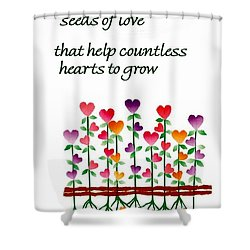 Growing Hearts Shower Curtain by Karon Melillo DeVega