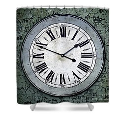 Grungy Clock Shower Curtain by Carlos Caetano