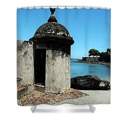 Guard Post Castillo San Felipe Del Morro San Juan Puerto Rico Watercolor Shower Curtain by Shawn O'Brien