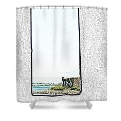 Guard Tower View Castillo San Felipe Del Morro San Juan Puerto Rico Colored Pencil Shower Curtain by Shawn O'Brien