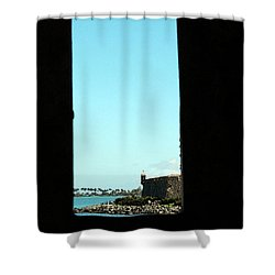 Guard Tower View Castillo San Felipe Del Morro San Juan Puerto Rico Watercolor Shower Curtain by Shawn O'Brien