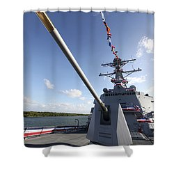 Guided-missile Destroyer Uss Jason Shower Curtain by Stocktrek Images