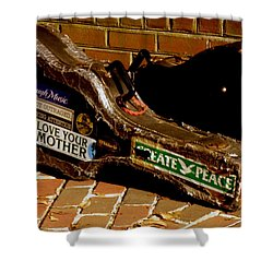 Guitar Case Messages Shower Curtain by Lainie Wrightson