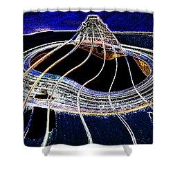 Guitar Warp Glowing Edges Shower Curtain by Anne Mott