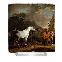 Gulliver Taking His Final Leave Of The Land Of The Houyhnhnms Shower Curtain by Sawrey Gilpin