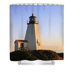 Gurnet Point Lighthouse Shower Curtain by Roupen  Baker