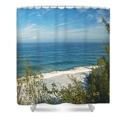 Haena State Park Overview Shower Curtain by Michael Peychich