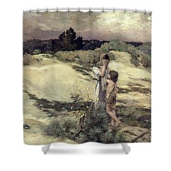 Hagar And Ishmael Shower Curtain by Jean-Charles Cazin