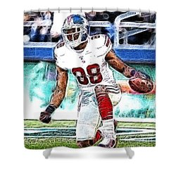 Hakeem Nicks - Sports - Football Shower Curtain by Paul Ward