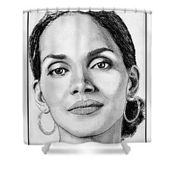 Shower Curtain featuring the drawing Halle Berry In 2008 by J McCombie