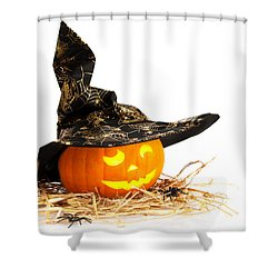 Halloween Pumpkin With Witches Hat Shower Curtain by Amanda Elwell
