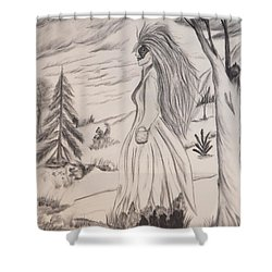 Shower Curtain featuring the drawing Halloween Witch Walk by Maria Urso