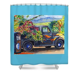 Hanapepe Truck Shower Curtain by Marionette Taboniar