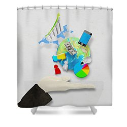 Hand And Globe On Hand Made Paper  Shower Curtain by Setsiri Silapasuwanchai