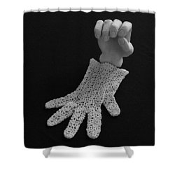 Shower Curtain featuring the sculpture Hand And Glove by Barbara St Jean