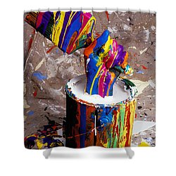 Hand Coming Out Of Paint Bucket Shower Curtain by Garry Gay