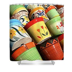 Hand Decorated Flower Pots Shower Curtain