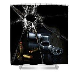 Handgun Bullets And Bullet Hole Shower Curtain by Jill Battaglia