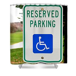 Handicapped Parking Sign Shower Curtain by Photo Researchers