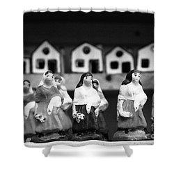 Handpainted Figurines Shower Curtain by Gaspar Avila