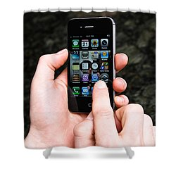Hands Holding An Iphone Shower Curtain by Photo Researchers, Inc.