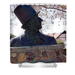 Hans Christian Andersen Statue In The Park In Solvang California Shower Curtain by Susanne Van Hulst