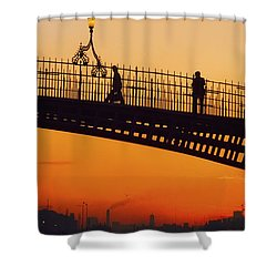 Hapenny Bridge, Dublin, Co Dublin Shower Curtain by The Irish Image Collection