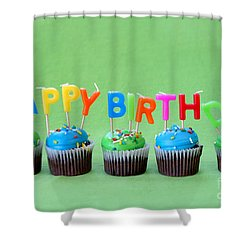 Happy Birthday Cupcakes Shower Curtain by Darren Fisher