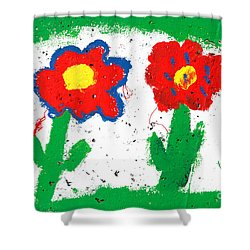 Happy Colorful Flowers Shower Curtain by Gaspar Avila