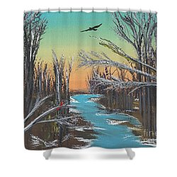 Shower Curtain featuring the painting Happy Day by Alys Caviness-Gober