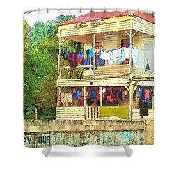 Happy Hour Washday Belize Shower Curtain by Rebecca Korpita