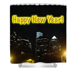 Happy New Year Greeting Card - Philadelphia At Night Shower Curtain by Mother Nature