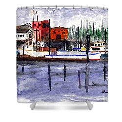 Shower Curtain featuring the painting Harbor Fishing Boats by Chriss Pagani