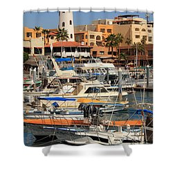 Harbor Waterfront In Cabo San Lucas Shower Curtain by Roupen  Baker