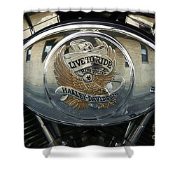 Harley Davidson Bike - Chrome Parts 44c Shower Curtain by Aimelle