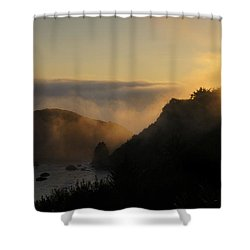 Harris Beach Sunset Panorama Shower Curtain by Mick Anderson
