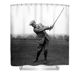 Shower Curtain featuring the photograph Harry Vardon Swinging His Golf Club by International  Images