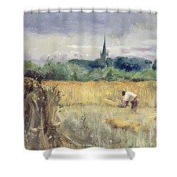 Harvest Field At Stratford Upon Avon Shower Curtain by John William Inchbold