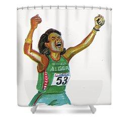 Hassiba Boulmerka Shower Curtain by Emmanuel Baliyanga