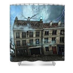 Haunted House Shower Curtain by Jutta Maria Pusl