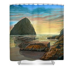 Shower Curtain featuring the painting Haystack Kiwanda Sunset by Chriss Pagani