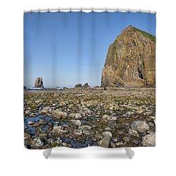 Haystack Rock 2 Shower Curtain by Mauro Celotti