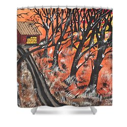 Shower Curtain featuring the painting Hazy Shade Of Winter by Jeffrey Koss