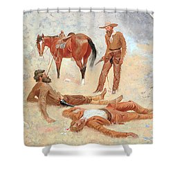 He Lay Where He Had Been Jerked Still As A Log  Shower Curtain by Frederic Remington