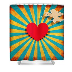 Heart And Cupid On Paper Texture Shower Curtain by Setsiri Silapasuwanchai