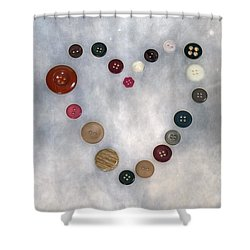 Heart Of Buttons Shower Curtain by Joana Kruse
