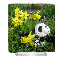 Hello Spring. Ginny From Travelling Pandas Series. Shower Curtain by Ausra Huntington nee Paulauskaite