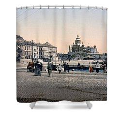 Helsinki Finland - Senate Square Shower Curtain by Bode Stevenson