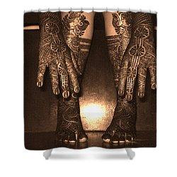 Henna Art On An Indian Bride Shower Curtain