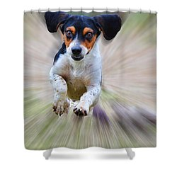 Here I Come Shower Curtain by Debbie Portwood